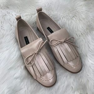 Zara Black Size 7.5/38 Nude Pearl Loafer